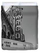 Fargo Theater Sign Black And White  Duvet Cover