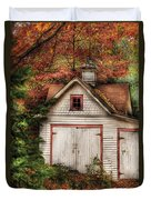 Farm - Barn - Our Old Shed Duvet Cover by Mike Savad