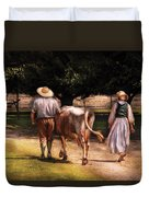 Farm - Cow - Time For Milking  Duvet Cover