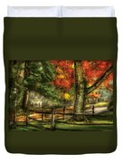 Farm - Fence - On A Country Road Duvet Cover