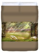 Farm - Geese -  Birds Of A Feather - Panorama Duvet Cover
