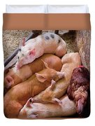 Farm - Pig - Five Little Piggies And A Chicken  Duvet Cover