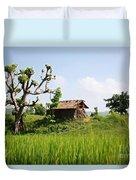 Farm And A Hut Duvet Cover