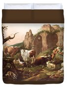 Farm Animals In A Landscape Duvet Cover