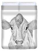 Farm Cow In Pointillism Duvet Cover