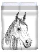 Farm Horse In Pointillism Duvet Cover