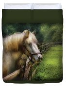 Farm - Horse - White Stallion Duvet Cover
