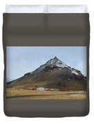 Farm Houses At The Base Of Mt Stapafell In Iceland Duvet Cover