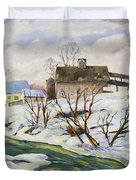 Farm In Winter Duvet Cover