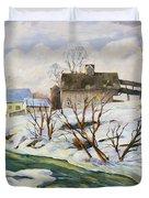 Farm In Winter Duvet Cover