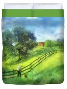 Farm On The Hill Duvet Cover