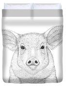 Farm Pig In Pointillism Duvet Cover