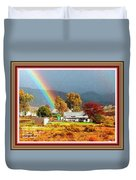 Farm Scene With Rainbow After Some Rains L A With Decorative Ornate Printed Frame. Duvet Cover