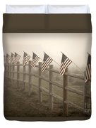 Farm With Fence And American Flags Duvet Cover