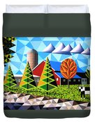Farm With Three Pines And Cow Duvet Cover