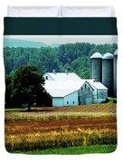 Farm With White Silos Duvet Cover
