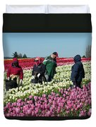 Farm Workers In Tulips Duvet Cover