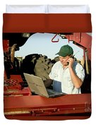 Farmer With Laptop And Cell Phone Duvet Cover