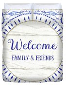 Farmhouse Blue And White Tile 6 - Welcome Family And Friends Duvet Cover