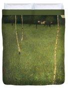Farmhouse With Birch Trees Duvet Cover by Gustav Klimt