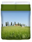 Farmhouse With Cypress Trees And Crops In Tuscany Duvet Cover