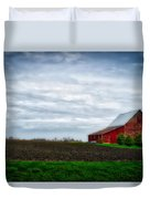 Farming Red Barn On A Quite Spring Day Duvet Cover