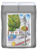 Farola With Flowers In Wilshire Blvd., Beverly Hills, California Duvet Cover