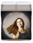 Fashion And Makeup Woman At Beauty Salon Store Duvet Cover
