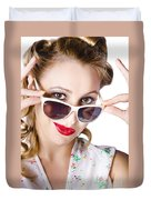 Fashionable Woman In Sun Shades Duvet Cover