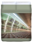 Fast Moving Long Exposure Of Subway Train Underground Tunnel Duvet Cover