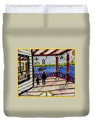 Father And Son On The Porch Duvet Cover