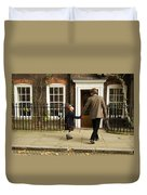 Father And Son Walking Towards Georgian Entrance Duvet Cover