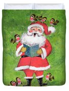 Father Christmas And Robin Chorus Duvet Cover