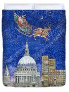 Father Christmas Flying Over London Duvet Cover