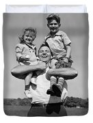 Father Holding Children, C.1930s Duvet Cover