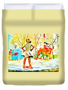 Fearless Girl And Wall Street Bull Statues 6 Watercolor Duvet Cover