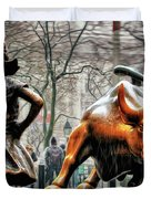 Fearless Girl And Wall Street Bull Statues Duvet Cover