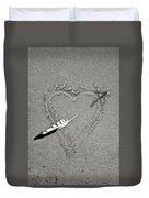 Feather Arrow Through Heart In The Sand Duvet Cover