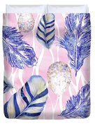 Feathers And Eggs Pattern Duvet Cover