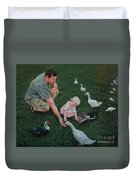 Feeding Ducks With Daddy Duvet Cover