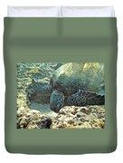 Feeding Sea Turtle Duvet Cover
