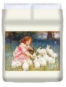 Feeding The Rabbits Duvet Cover by Frederick Morgan