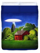 Feline Ufo Abduction Duvet Cover