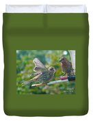 Female And Male Crossbills    August  Indiana Duvet Cover