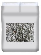 Female Cardinal In The Snow Duvet Cover