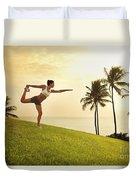 Female Doing Yoga Duvet Cover