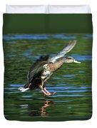 Female Duck Landing Duvet Cover