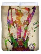 Female Guitarist Duvet Cover