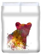 Female Lion 02 In Watercolor Duvet Cover