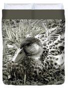 Female Mallard Duck Resting 2 Duvet Cover